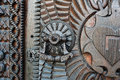 Detail of a very old iron metal door, knocker. Royalty Free Stock Photo
