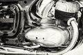 Detail of veteran motorbike, meeting bikers, black and white Royalty Free Stock Photo