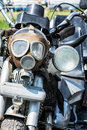 Detail of veteran motorbike with symbolic gas mask Royalty Free Stock Photo