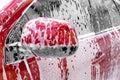 Detail view on car wash, car wash foam water