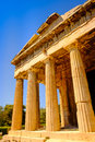 Detail view of temple of Hephaestus in Ancient Agora, Athens Royalty Free Stock Photo