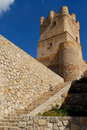 Detail of villena castle alicante spain view the tower keep the Royalty Free Stock Images