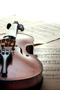 Detail of violin on sheet music collection overexposed vintage style Royalty Free Stock Photos