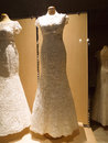 Detail of a weddings dress store shop window Royalty Free Stock Photos