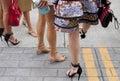 Detail of women footwear on the street black heels Royalty Free Stock Photo