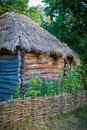 Detail of wooden retro ukrainian cottage Royalty Free Stock Photo