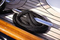 Detail yacht rope and cleat Royalty Free Stock Photo