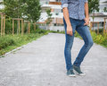 Detail of a young handsome man posing in the city streets Royalty Free Stock Photo