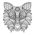 Detail zentangle fox coloring page Royalty Free Stock Image