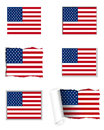 Detailed accurate illustration usa flag set Stock Photography