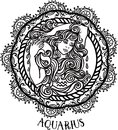 Detailed Aquarius in aztec style Royalty Free Stock Photo