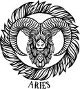 Detailed aries in aztec style Royalty Free Stock Photo
