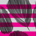 Black Graphic Feather Seamless Pattern on Pink and Grey Stripes