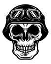 Detailed Classic Skull Head Wearing Retro Biker Helmet and Pilot Goggles Illustration