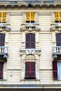 Detailed classic well decorated architectonic building in the city of genoa italy Royalty Free Stock Photography