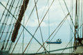 Detailed closeup of mast rigging on sail boat Royalty Free Stock Photo