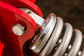 Detailed closeup of shock absorber, big snubber Royalty Free Stock Photo