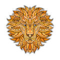 Detailed colored Lion in aztec style. Patterned head of the  on  background. African indian totem tattoo design Royalty Free Stock Photo