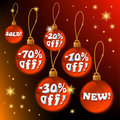 Detailed Discount Red Christmas Labels - vector Stock Images