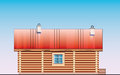 Detailed drawing of wooden sauna building facade Stock Photo