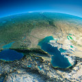 Detailed earth caucasus highly planet in the morning exaggerated precise relief lit morning sun elements of this Stock Photo