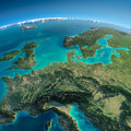 Detailed earth central europe highly planet in the morning exaggerated precise relief lit morning sun elements of Royalty Free Stock Photos