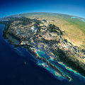 Detailed earth gulf of california mexico and the western u s states highly planet in morning exaggerated precise relief lit Stock Image