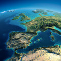 Detailed earth spain and the mediterranean sea highly planet in morning exaggerated precise relief lit morning sun part of europe Royalty Free Stock Photography