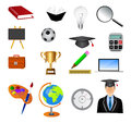 Detailed education icon set isolated on white Royalty Free Stock Photo