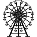Detailed Ferris Wheel in silhouette Royalty Free Stock Photo
