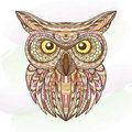 Detailed hand drawn doodle outline owl illustration. Decorative in zentangle style. Patterned fiery on the grunge