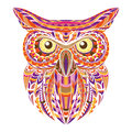 Detailed hand drawn doodle outline owl illustration. Decorative in zentangle style. Patterned fiery on the white