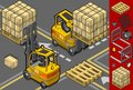 Detailed illustration isometric forklift four different positions some trans pallets packages illustration saved eps color space Stock Photo