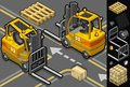 Detailed illustration isometric forklift four different positions some trans pallets packages illustration saved eps color space Stock Images