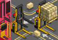 Detailed illustration of a isometric forklift in two positions in front view this illustration is saved in eps with color space in Royalty Free Stock Image