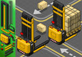 Detailed illustration of a isometric forklift in two positions in rear view this illustration is saved in eps with color space in Stock Photography