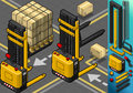 Detailed illustration of a isometric forklift in two positions in rear view this illustration is saved in eps with color space in Stock Image