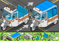 Detailed illustration of a isometric italian rickshaw in front view illustration in eps with color space in rgb Royalty Free Stock Image