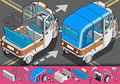Detailed illustration isometric italian rickshaw rear view illustration eps color space rgb Royalty Free Stock Image