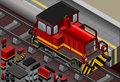 Detailed illustration of a isometric red train in front view this illustration is saved in eps with color space in rgb Stock Image