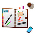 Detailed illustration of a personal organizer isolated on white Stock Images