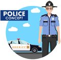 Policeman concept. Detailed illustration of sheriff in uniform on background with police car in flat style. Vector Royalty Free Stock Photo