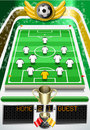 Detailed illustration of a soccer field with soccer ball and scoreboard this illustration is saved in eps with color space in rgb Stock Photography