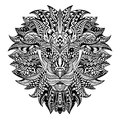 Detailed Lion in aztec style. Patterned head on  background. African indian totem tattoo design. Vector Royalty Free Stock Photo