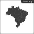 The detailed map of the Brazil with regions