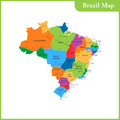 The detailed map of the Brazil with regions or states and cities
