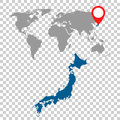 Detailed map of Japan and World map navigation set. Flat vector Royalty Free Stock Photo