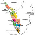 Detailed Map of Kerala Stock Photo