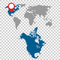 Detailed map of North America and World map navigation set. Flat