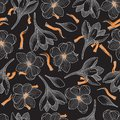 Saffron and Crocus Flowers Seamless Pattern on Black